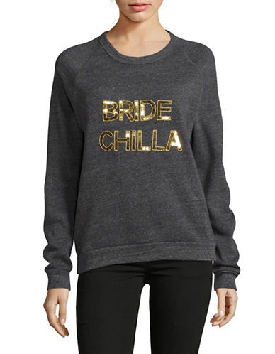 Bow And Drape Bride Chilla Boyfriend Sweatshirt-CHARCOAL-Medium