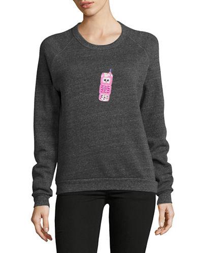 Bow And Drape Pink Cell Boyfriend Fit Sweatshirt-CHARCOAL-Medium