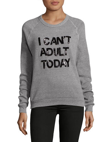 Bow And Drape I Cant Adult Today Boyfriend Fit Sweatshirt-GREY HEATHER-Small