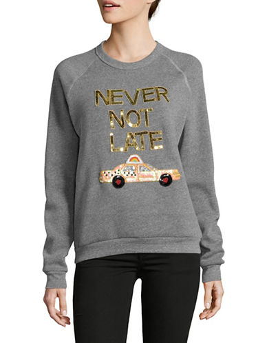 Bow And Drape Never Not Late Boyfriend Sweatshirt-GREY HEATHER-Large