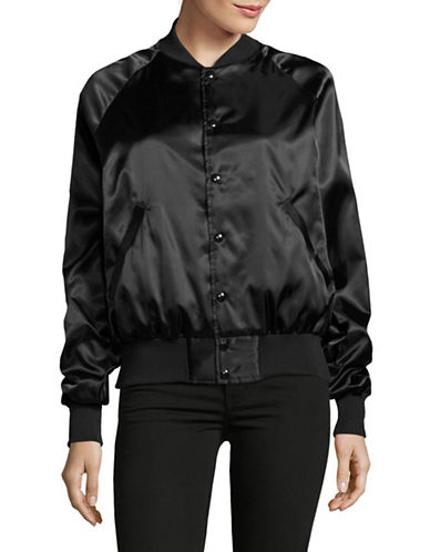 Bow And Drape Toronto Satin Bomber Jacket-BLACK-Medium