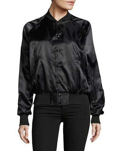 Bow And Drape Drake Satin Bomber Jacket-BLACK-Medium