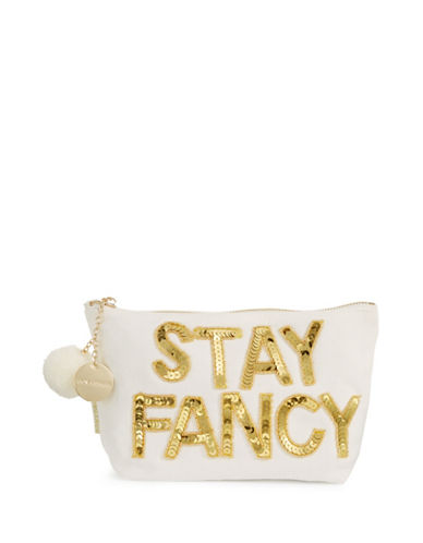 Bow And Drape Stay Fancy Pom Pouch-WHITE-One Size