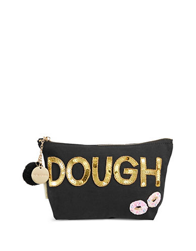 Bow And Drape Dough Pom Pouch-BLACK-One Size