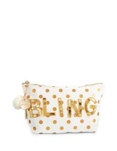 Bow And Drape Bling Dotted Pom Pouch-GOLD DOT-One Size
