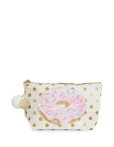 Bow And Drape Donut Dotted Pom Pouch-GOLD DOT-One Size