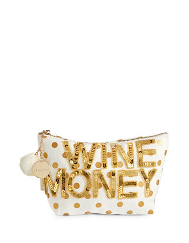 Bow And Drape Wine Money Dotted Pom Pouch-GOLD DOT-One Size