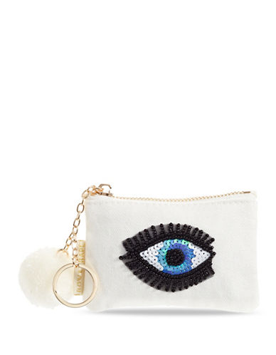 Bow And Drape Eye Mini Pom Pouch-WHITE-One Size