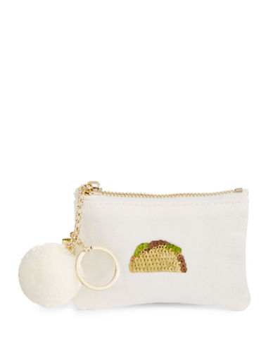 Bow And Drape Taco Mini Pom Pouch-WHITE-One Size