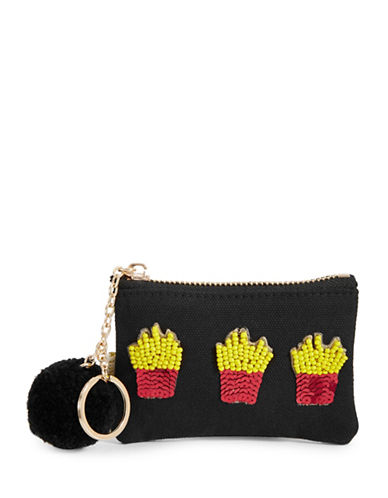 Bow And Drape Fries Mini Pom Pouch-BLACK-One Size