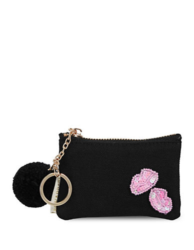 Bow And Drape Lips Mini Pom Pouch-BLACK-One Size