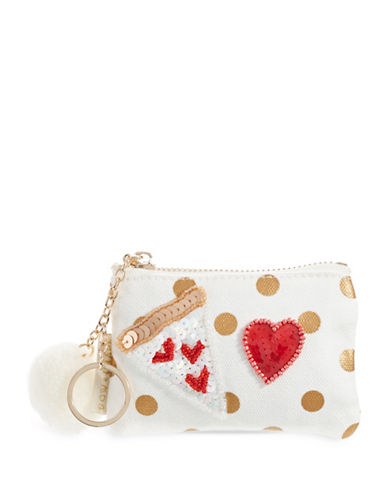 Bow And Drape Pizza Heart Dotted Mini Pom Pouch-GOLD DOT-One Size