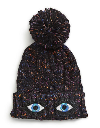 Bow And Drape Eyes Confetti Pom Beanie-BLACK-One Size