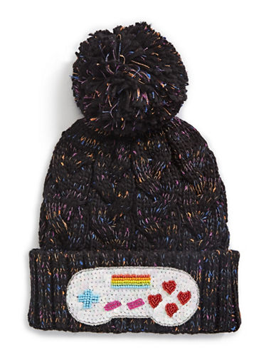 Bow And Drape Controller Confetti Pom Beanie-BLACK-One Size
