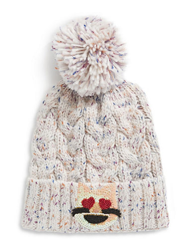 Bow And Drape Cat Face Confetti Pom Beanie-WHITE-One Size