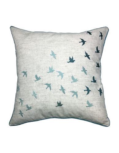 Aura Birds Embroidered Decorative Cushion-BLUE-18x18