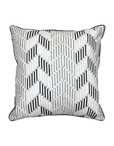 Aura Vlad Chevron Embroidered Decorative Cushion-GREY-18x18