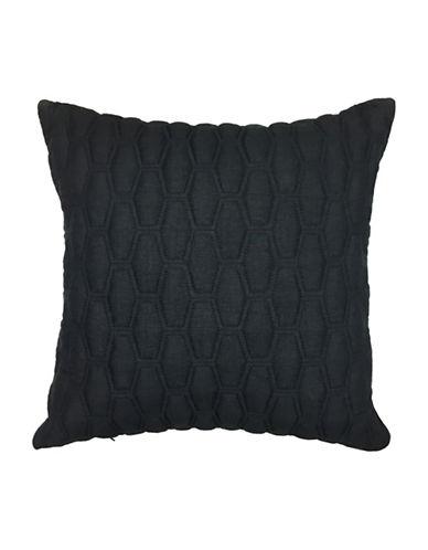 Aura Gavin Quilted Decorative Cushion-BLACK-18x18