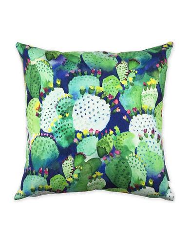 Bluebellgray Cactus Decorative Linen Cushion-MULTI-18x18
