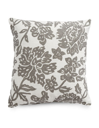 Distinctly Home Embroidered Cushion-GREY-18x18