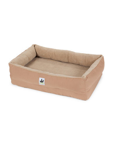 3 Dog Pet Supply EZ Wash Fleece Lounger Memory Foam Dog Bed-TAN-Medium