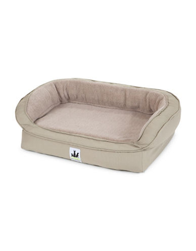 3 Dog Pet Supply EZ Wash Fleece Headrest Dog Bed-BEIGE-Small