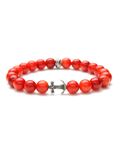 Degs And Sal Red Coral Anchor Bracelet-RED-One Size