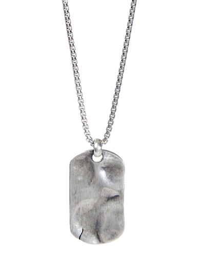 Degs And Sal Hammered Dog Tag Necklace-SILVER-One Size