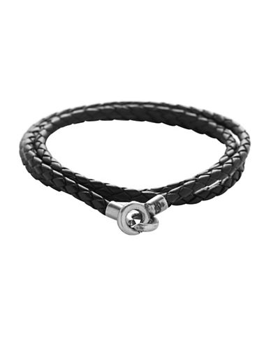 Degs And Sal Sterling Silver and Leather Wrap Bracelet-BLACK-One Size