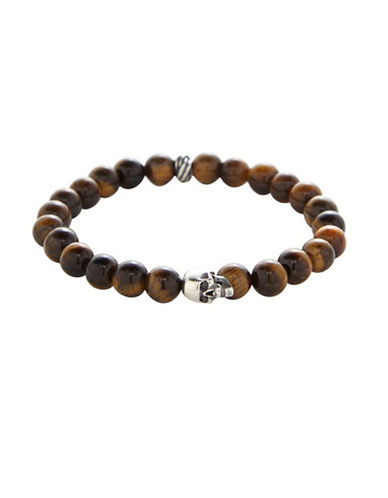 Degs And Sal Tiger Eye and Sterling Silver Skull Bracelet-BROWN-One Size
