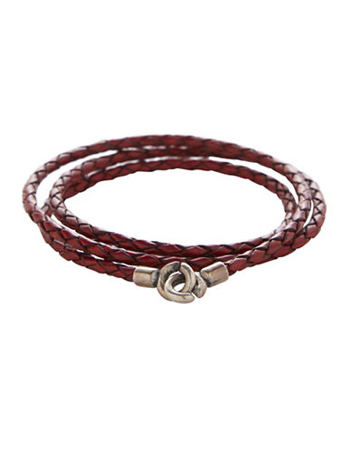 Degs And Sal Sterling Silver and Leather Wrap Bracelet-RED-One Size