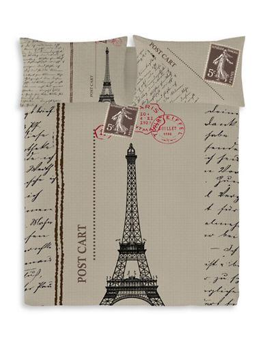 Gouchee Design Three-Piece Postcard Print Duvet Cover Set-BEIGE-King