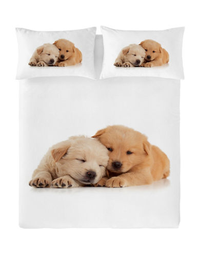 Gouchee Design So Cute Puppy Print Duvet Cover Set-BEIGE-Twin