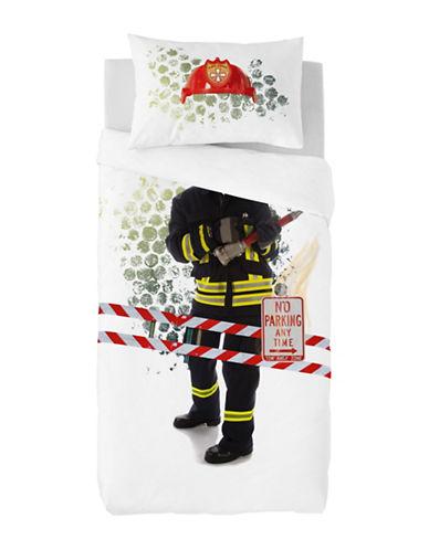 Gouchee Design Two-Piece Firefighter Print Duvet Cover Set-BLACK-Twin