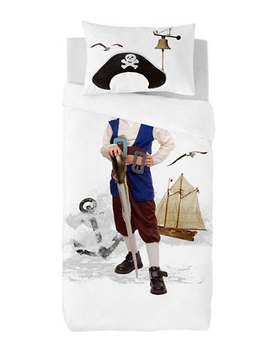 Gouchee Design Two-Piece Pirate Print Duvet Cover Set-WHITE-Twin