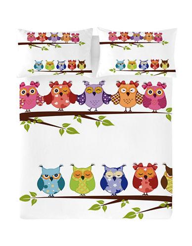 Gouchee Design Three-Piece Buhos Owl Print Duvet Cover Set-ORANGE-Queen