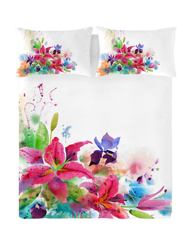 Gouchee Design Three-Piece Lilies Print Duvet Cover Set-PURPLE-King