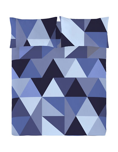 Gouchee Design Three-Piece Origami Print Duvet Cover Set-BLUE-King