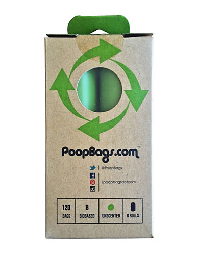 Original Poop Bags 120-Piece Eight-Roll Pack USDA Certified Bio-Based Dog Waste Bag Set-GREEN-One Size
