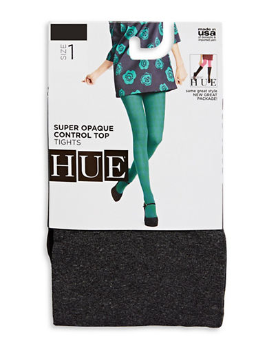 Hue Super Opaque Tights with Control Top-DARK GREY-2