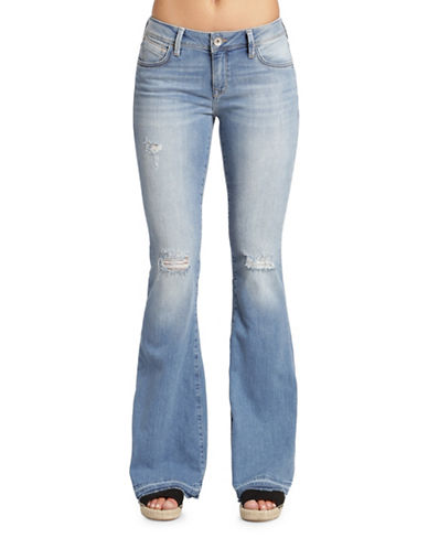 Mavi Peace Mid Rise Flare Jeans-LIGHT BLUE RIPPED-34