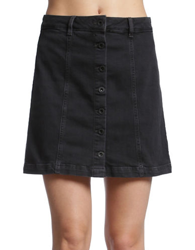 Mavi Bellina Button-Down Denim Skirt-SMOKE STRETCH BOHO-Large