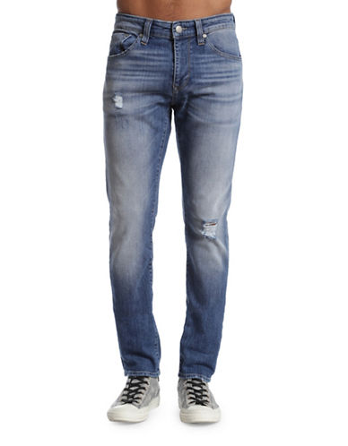 Mavi Jake Distressed Slim Leg Jeans-BLUE-29X34