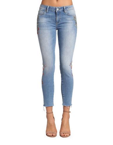 Mavi Adriana Ankle Mid Rise Super Skinny Jeans-LIGHT EMBROIDERY VINTAGE-25