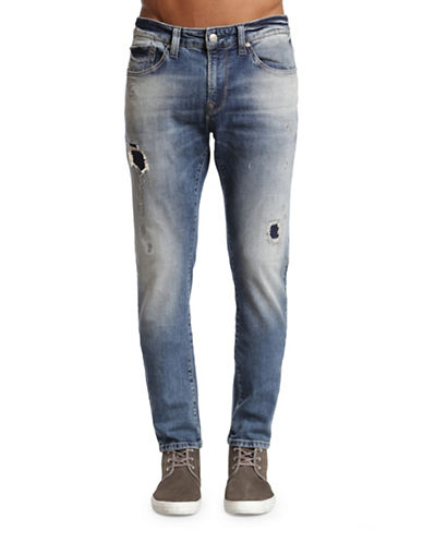 Mavi Jake Patched Slim Leg Jeans-BLUE-32X34