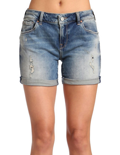 Mavi Pixie Boyfriend Shorts-MID RIPPED PATCH VINTAGE-24