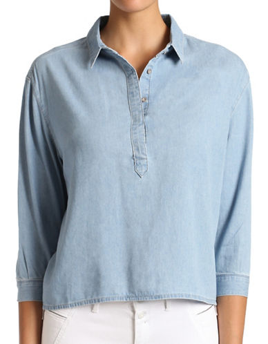 Mavi Ariana Henley Shirt-LIGHT INDIGO-Large