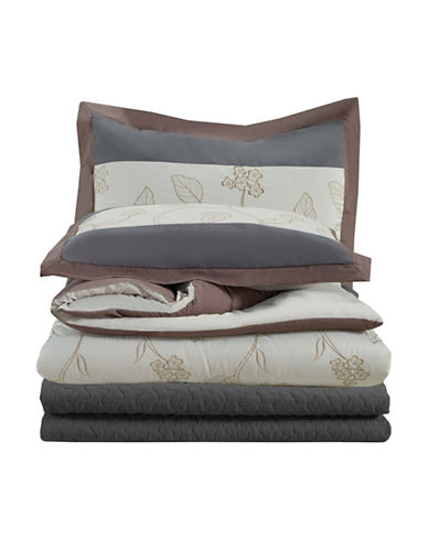 Bellisimo Grayson Quilted 12-Piece Bedding Set-GREY-Queen