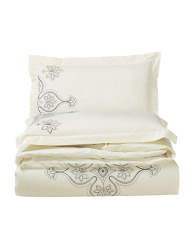 Bellisimo Dynasty 200 Thread-Count Three-Piece Duvet Cover Set-IVORY-Queen