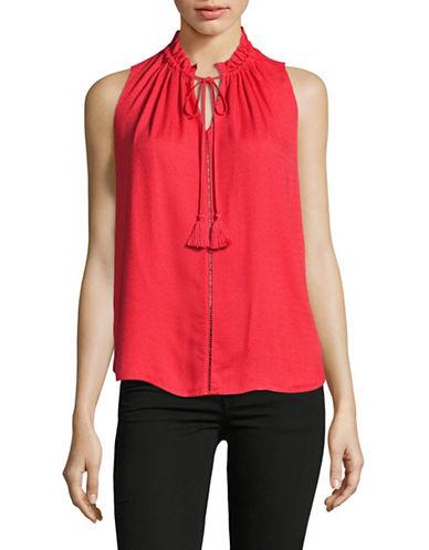Maison Scotch Sleeveless Ruffle Collar Top-RED-X-Small